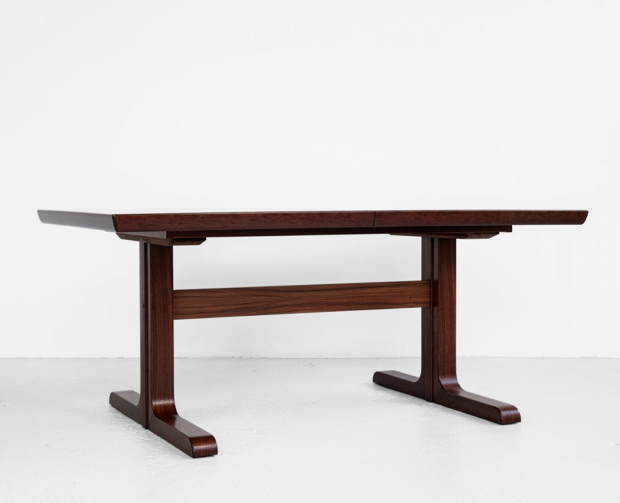 Midcentury Danish rectangular dining table in rosewood with 2 extensions 1960s