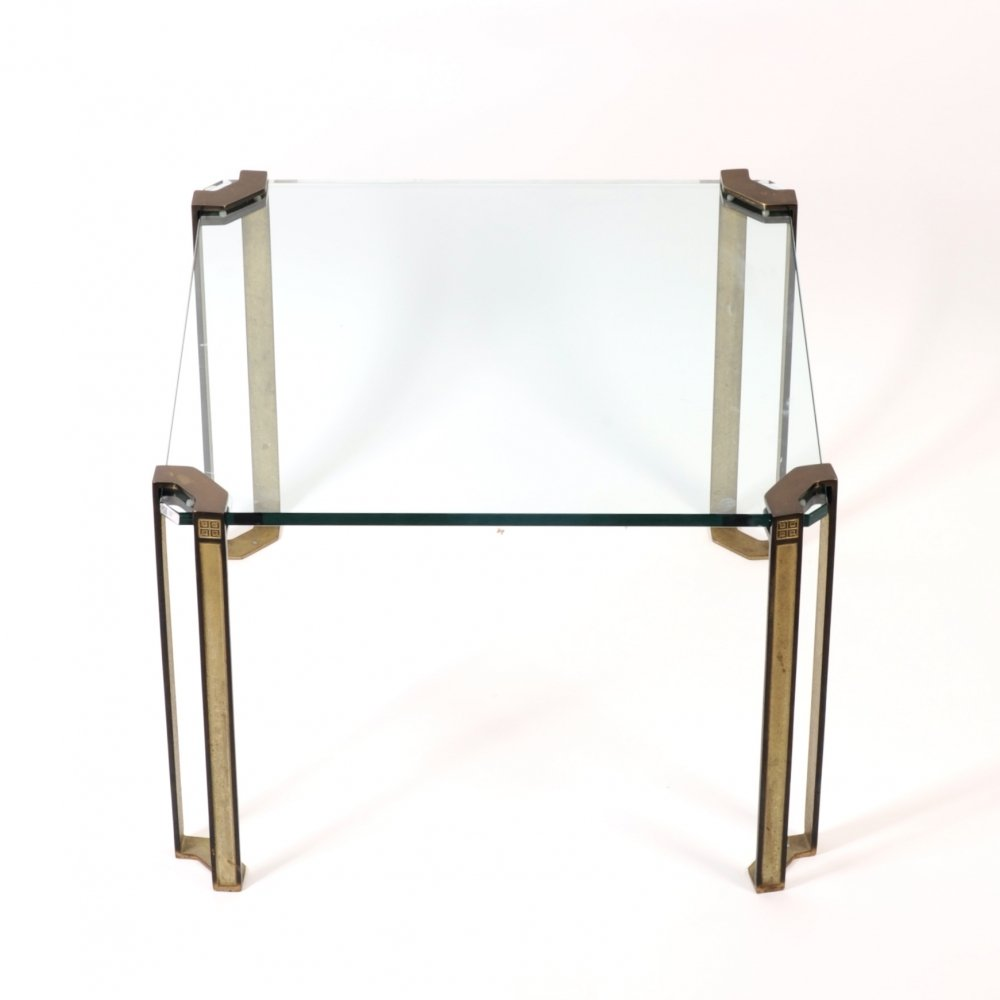 Brass & glass Pioneer coffee table by Peter Ghyczy