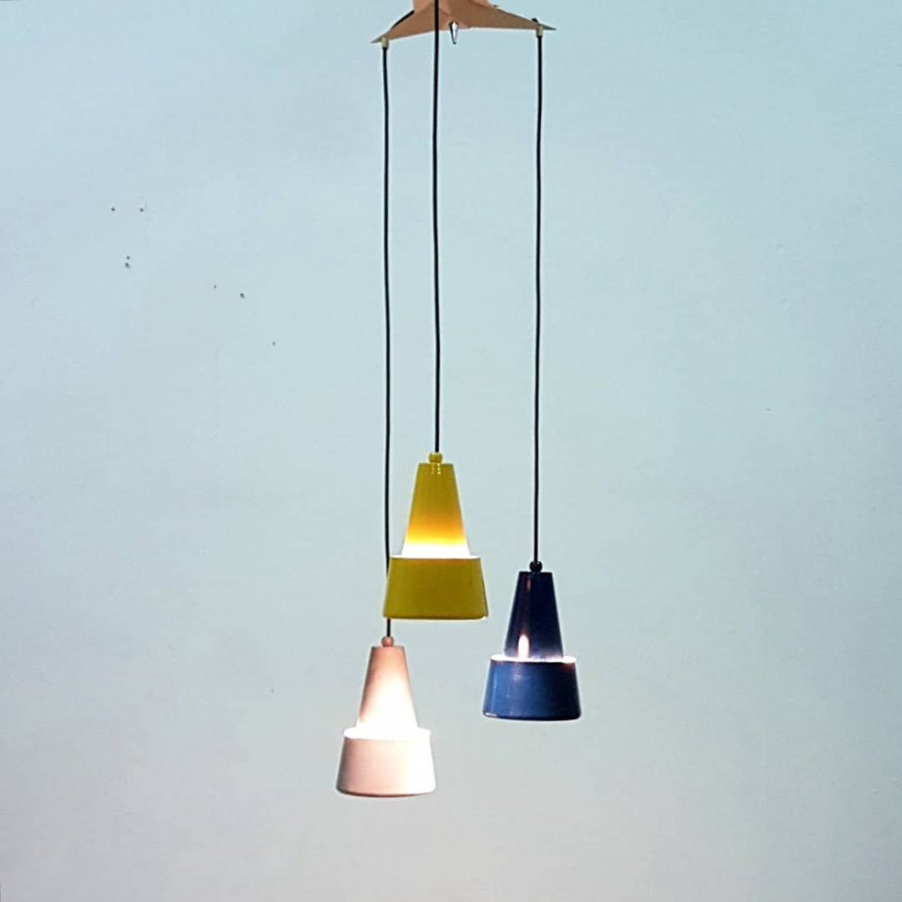 Mid century tri-color metal pendant lamp, Netherlands 1950s