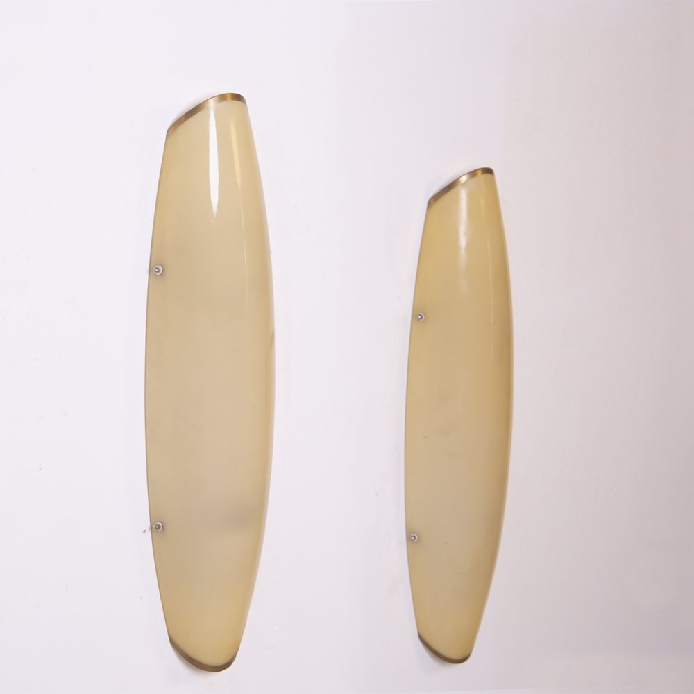 Pair of Italian Wall lamps in brass & ivory colour glass, 1950s