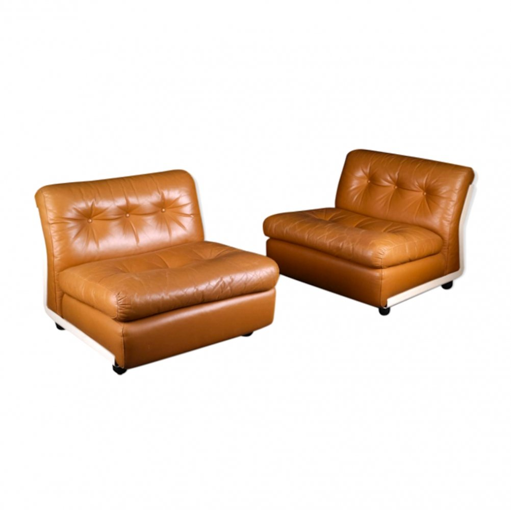 Leather 'Amanta' Lounge Chairs by Mario Bellini for C&B Italia