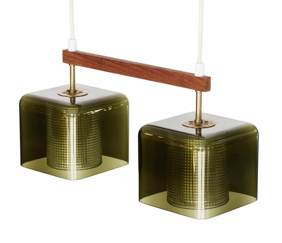Double glass pendant light by Carl Fagerlund for Orrefors, Sweden 1960