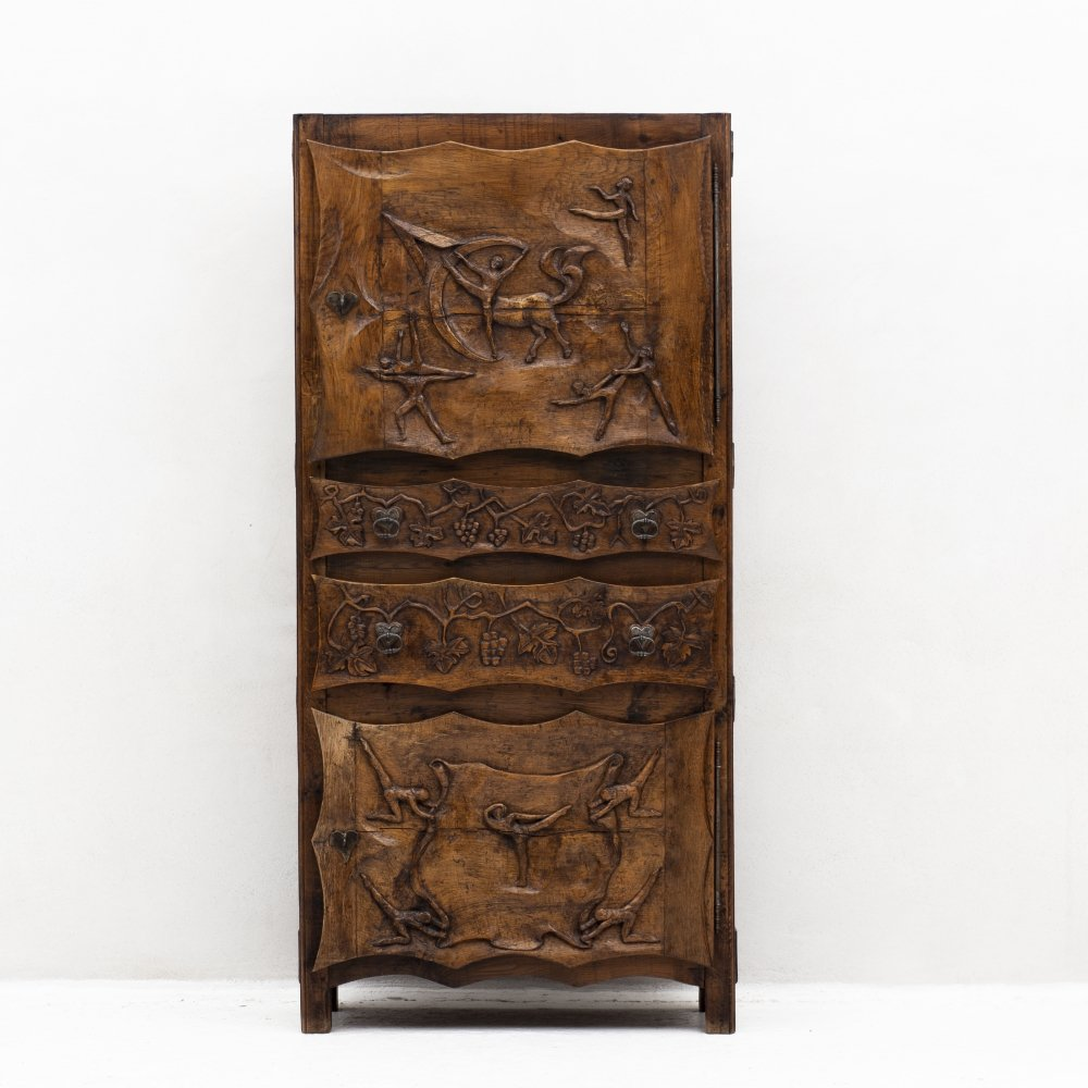 One of a kind cabinet sculpted by Johnny Ludécher, France 1950