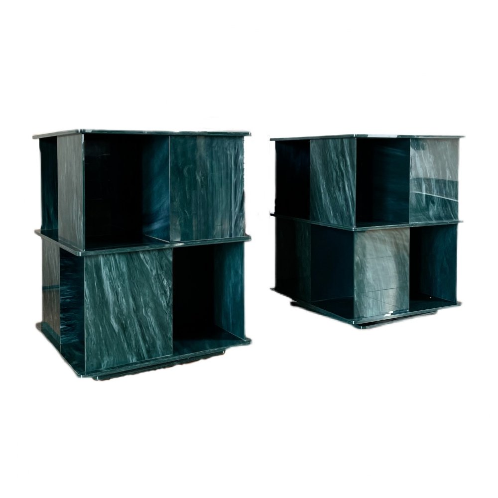 Pair of Rotating Green Marble Effect Plexiglas Side Tables