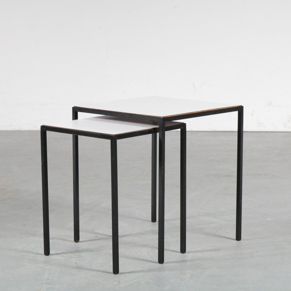 1950s Pair of reversible top side table by Artimeta, Netherlands