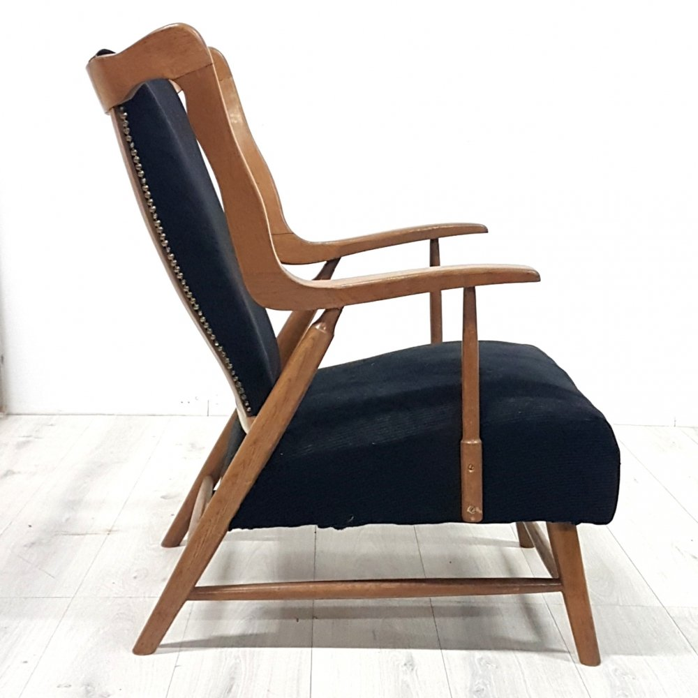 Mid century sculptural lounge chair with corduroy upholstery, Netherlands 1950s