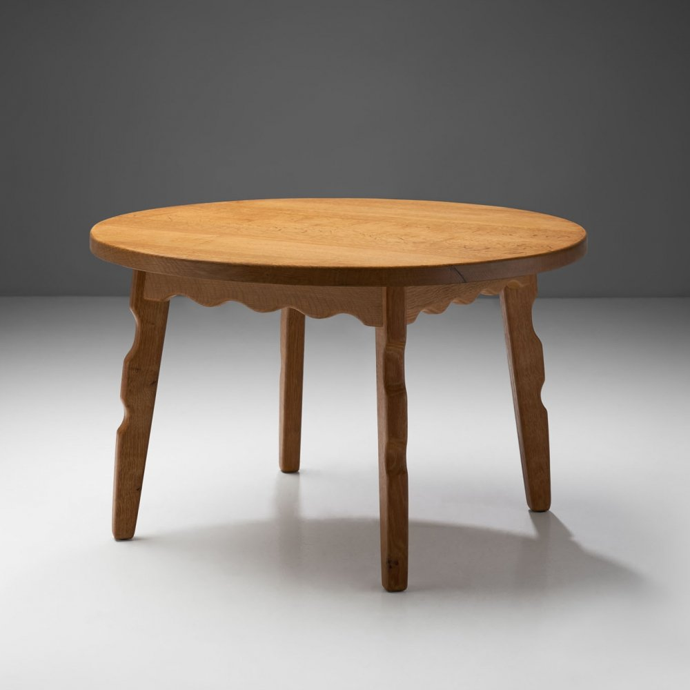 Solid Oak Coffee Table with Sculptural Legs by Danish Cabinetmaker, Denmark ca 1950s