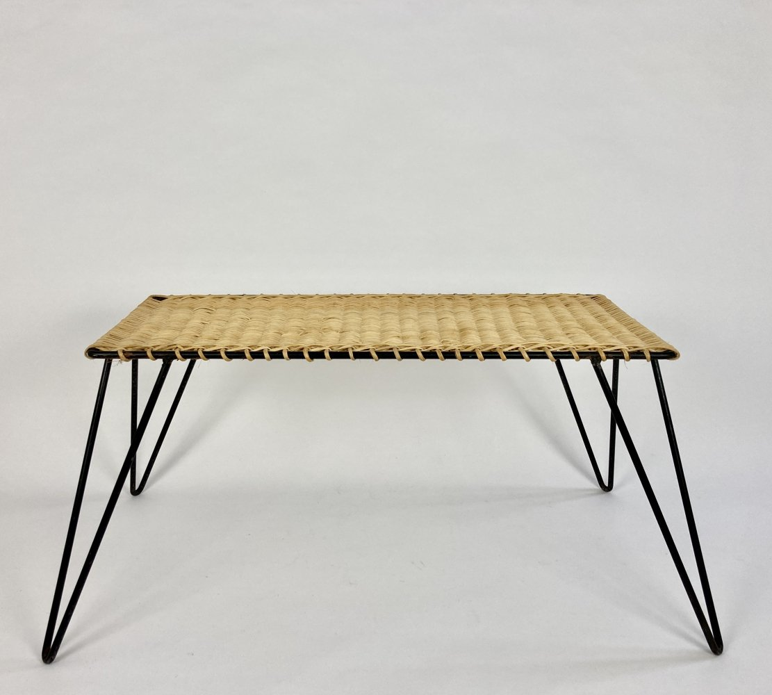 Rattan & metal low table by Raoul Guys, France c1950-60