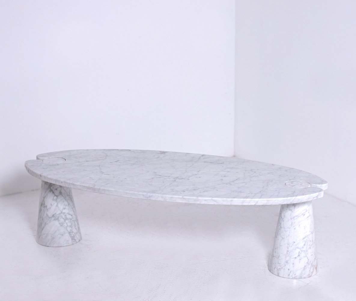 Angelo Mangiarotti Coffee table for Skipper in white marble, 1970s