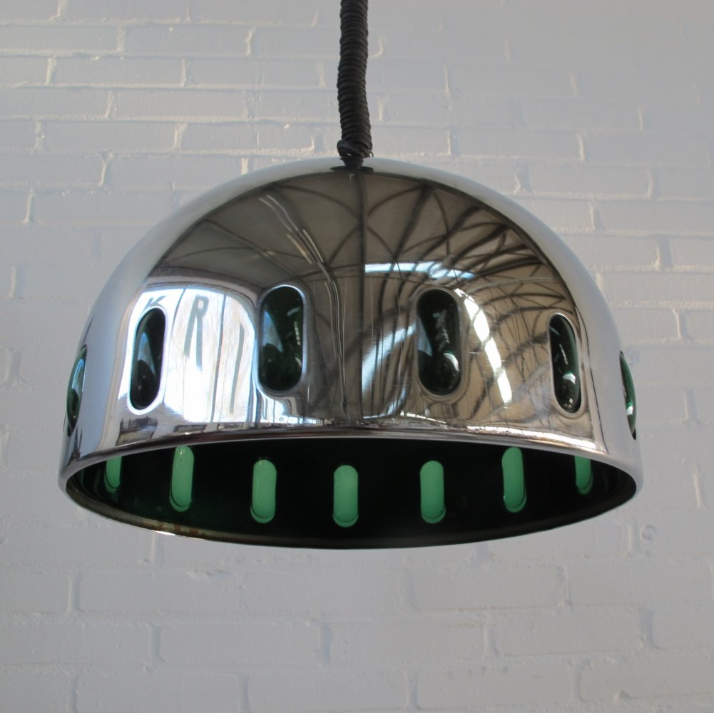Vintage chrome Space Age hanging lamp, 1960s