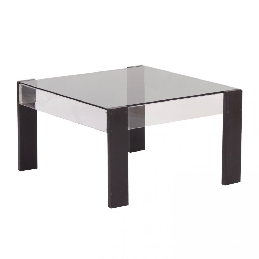 Small Square Vintage Coffee table made of Black Ashwood, Perspex & Glass, 1970