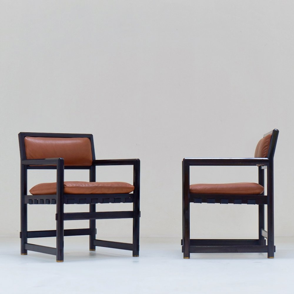 Pair of 1960s leather armchairs by Edward J. Wormley for Mobilier Universel