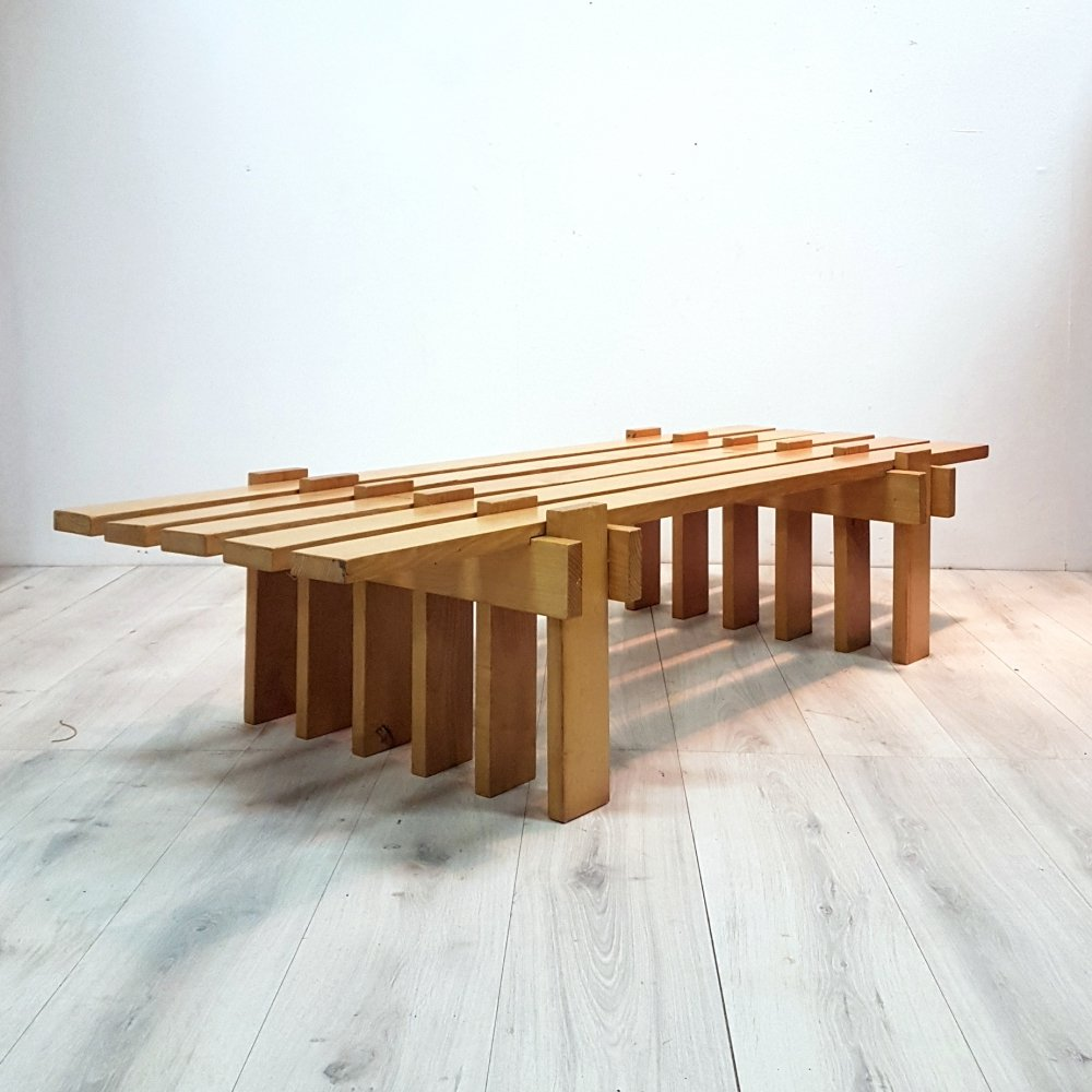 Solid wood modernist slatted coffee table or bench, 1970s
