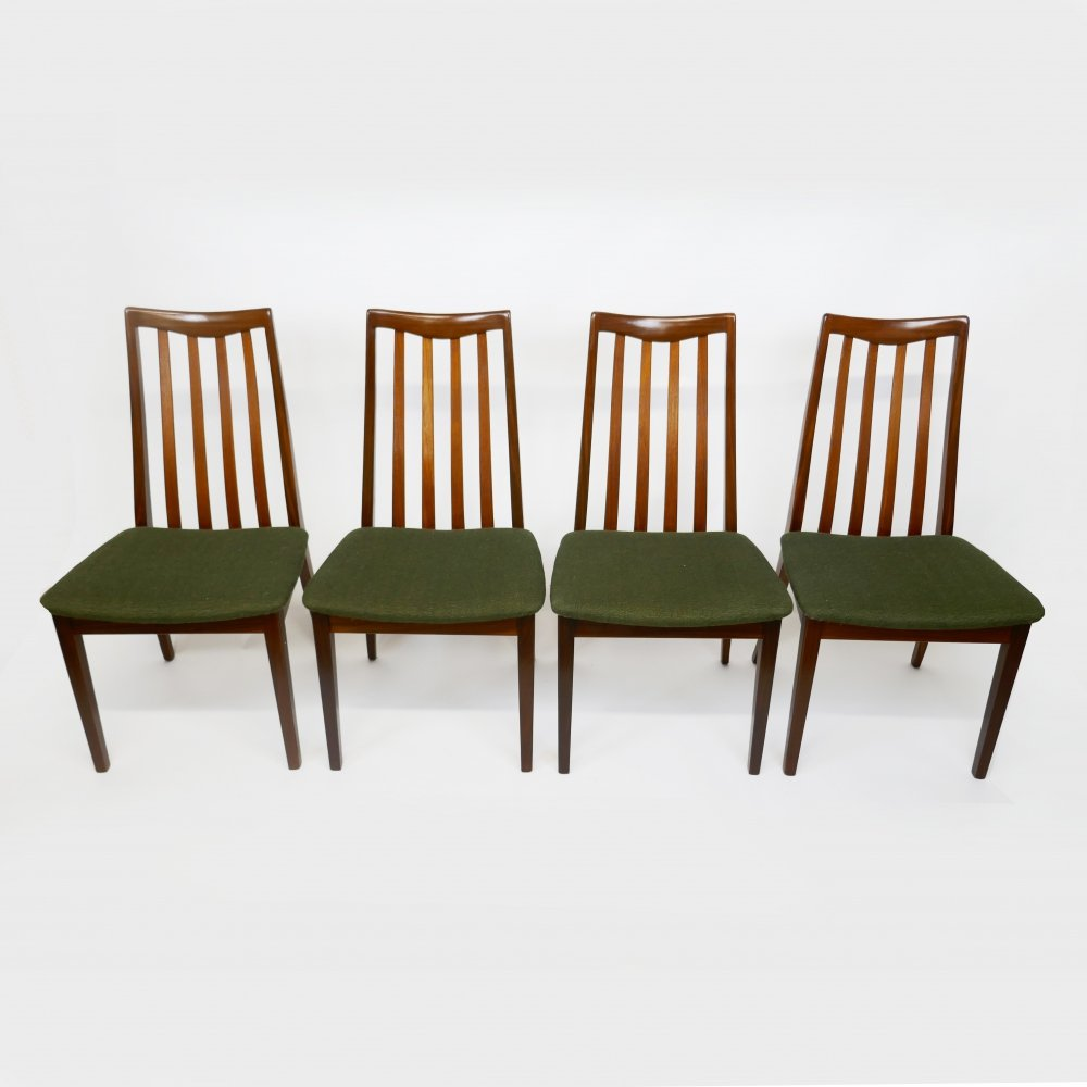 Set of 4 Vintage Teak & Fabric Dining Chairs by Leslie Dandy for G-Plan, 1960s