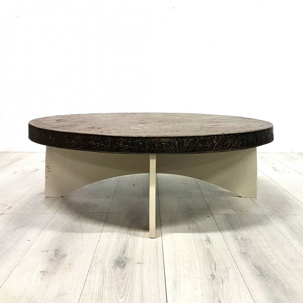 Slate decor copper coffee table with decorated edge, 1960s