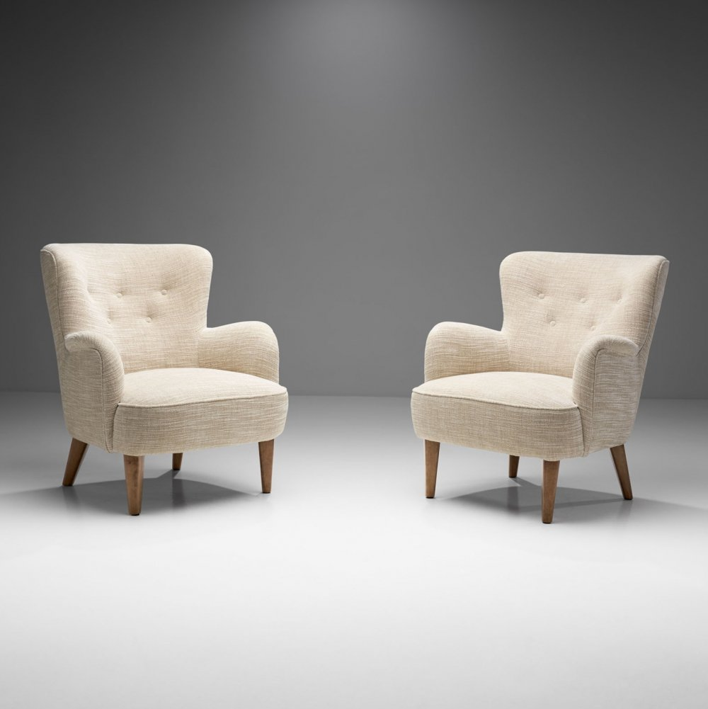Pair of Mid-Century Armchairs by a Swedish Cabinetmaker, Sweden ca 1950s