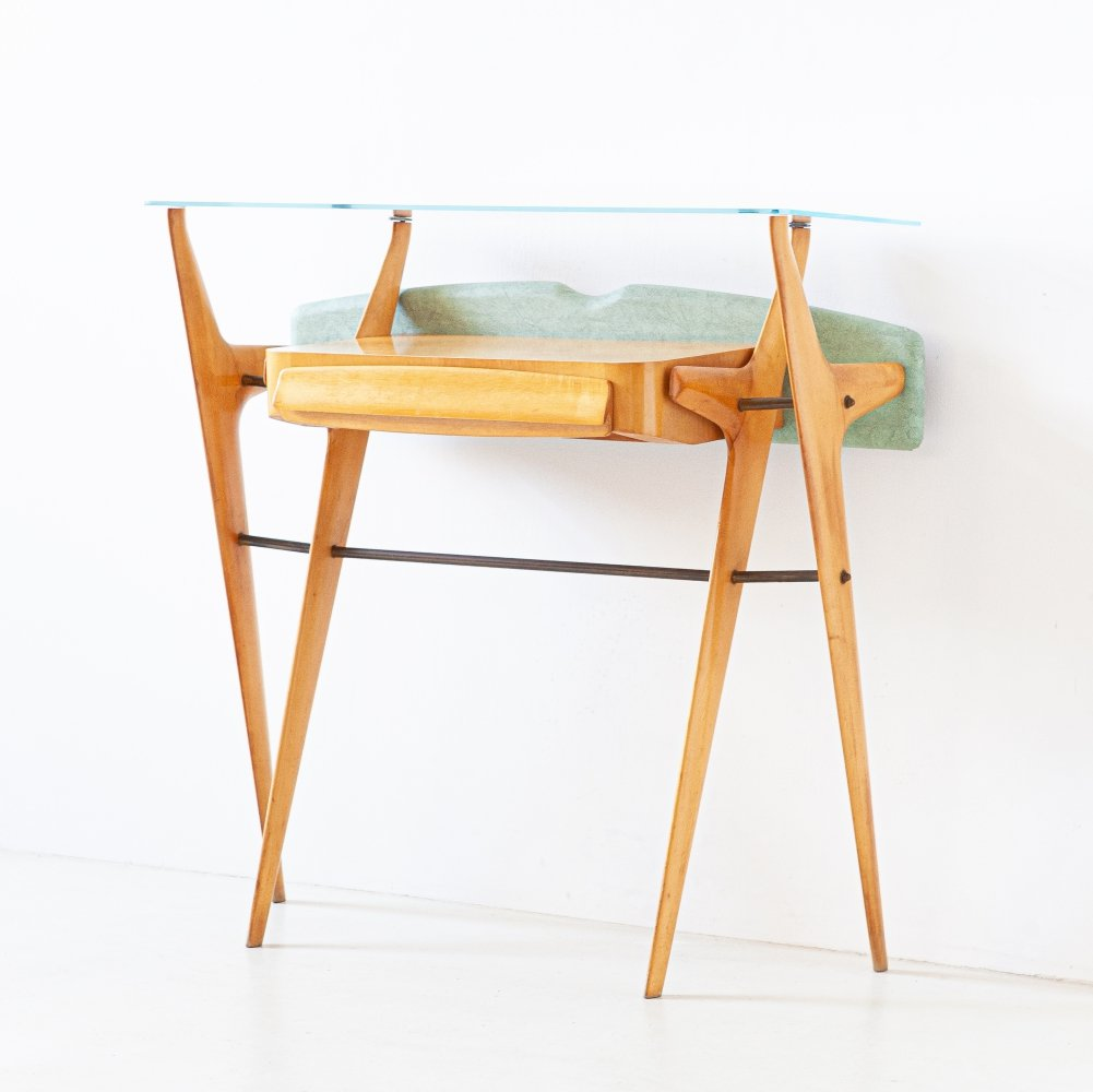 1950s Italian Maple Console with Glass Top