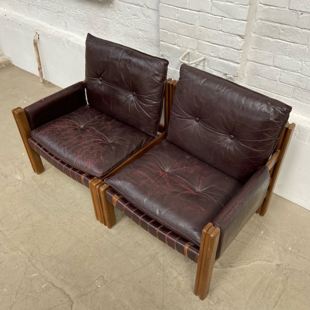 Leather sofa by TON, 1970s
