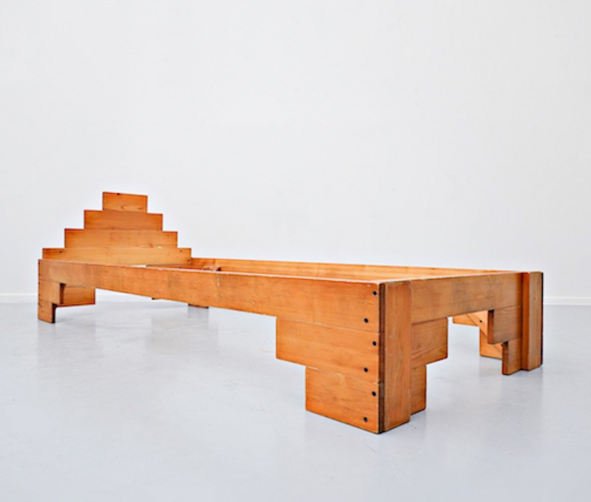 Italian Wooden Bed by Enzo Mari, 1970s