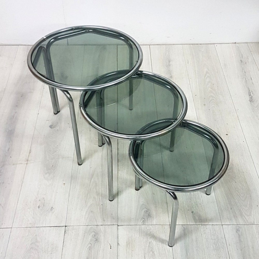 Space age nesting tables with smoked glass tops, 1970s