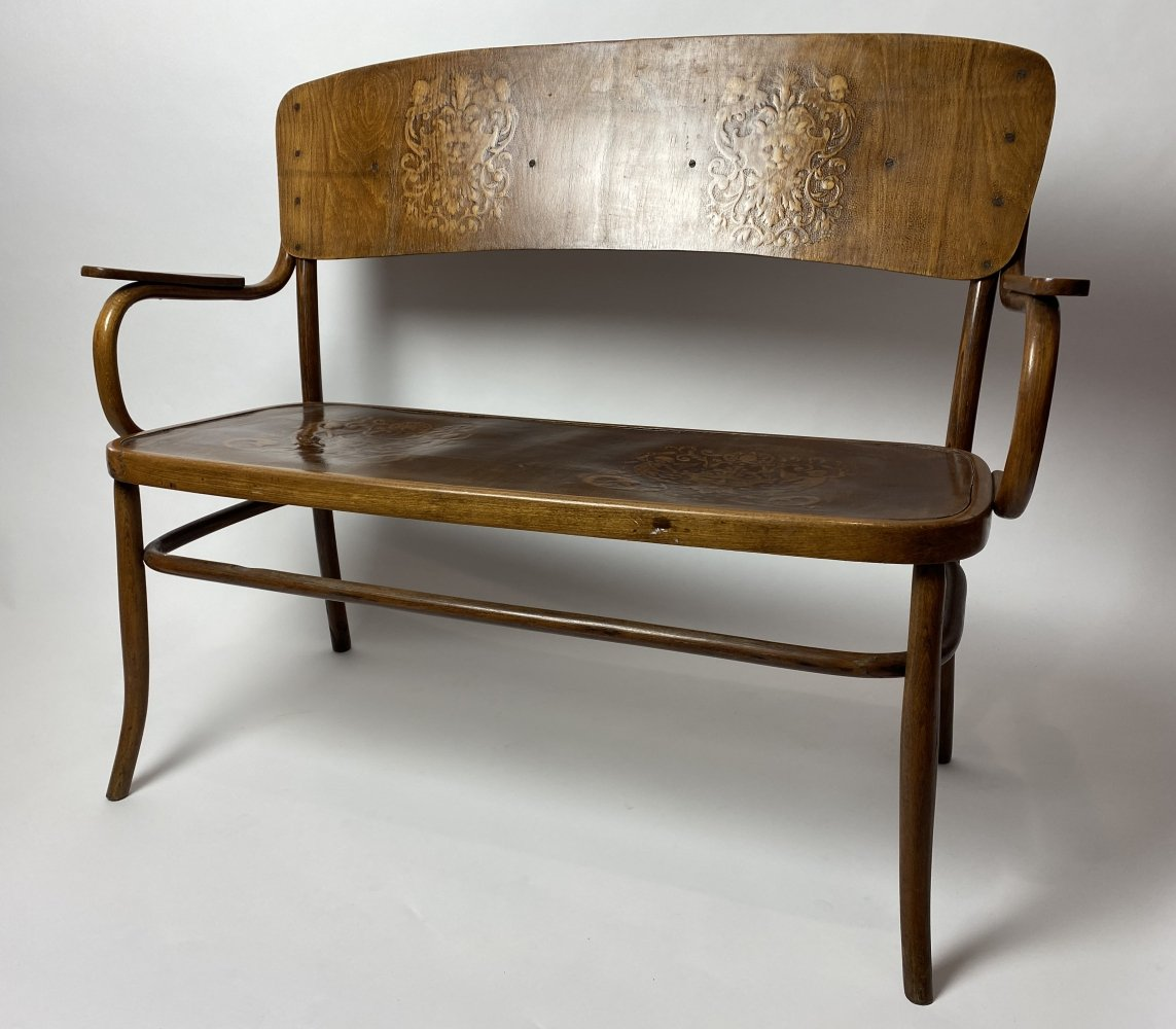 Bentwood sofa by Thonet with angels & devils