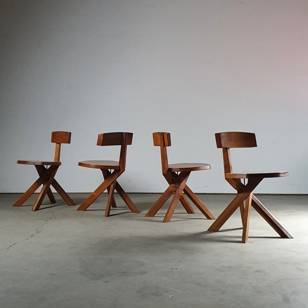 Vintage s34 chair set by Pierre Chapo