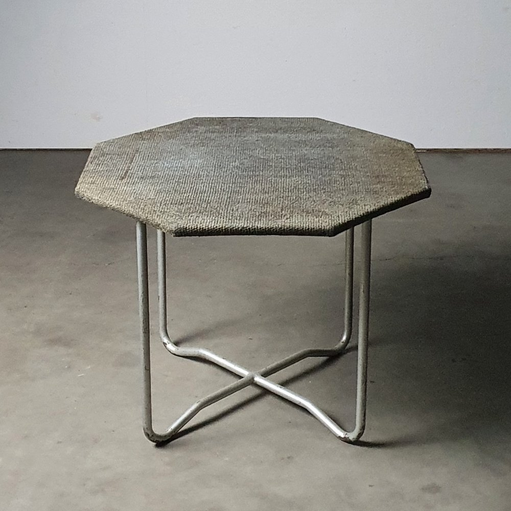 Rare tubular Bas van Pelt table with upholstered top