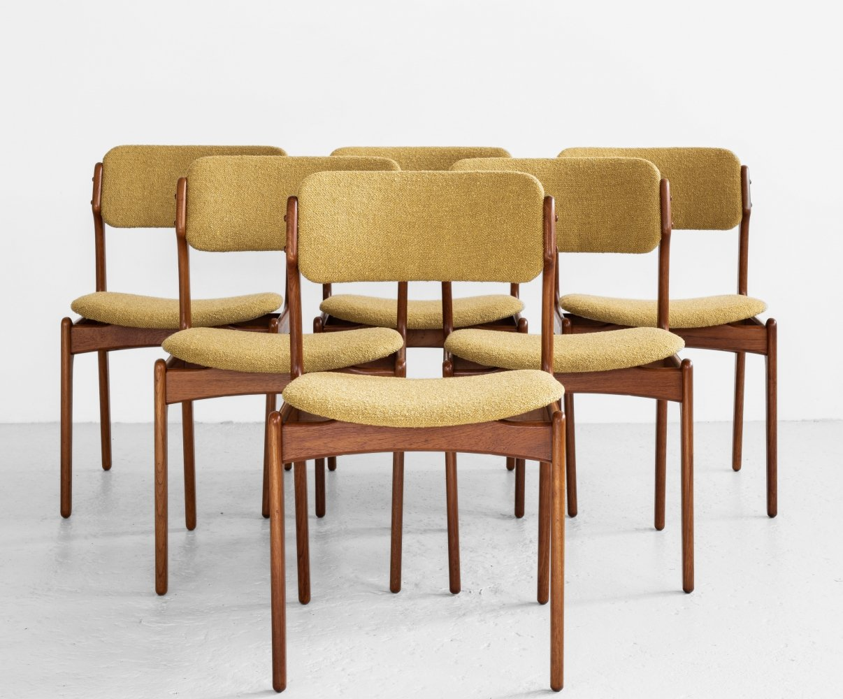 Midcentury Danish set of 6 dining chairs in teak by Erik Buch for OD Møbler, 1960