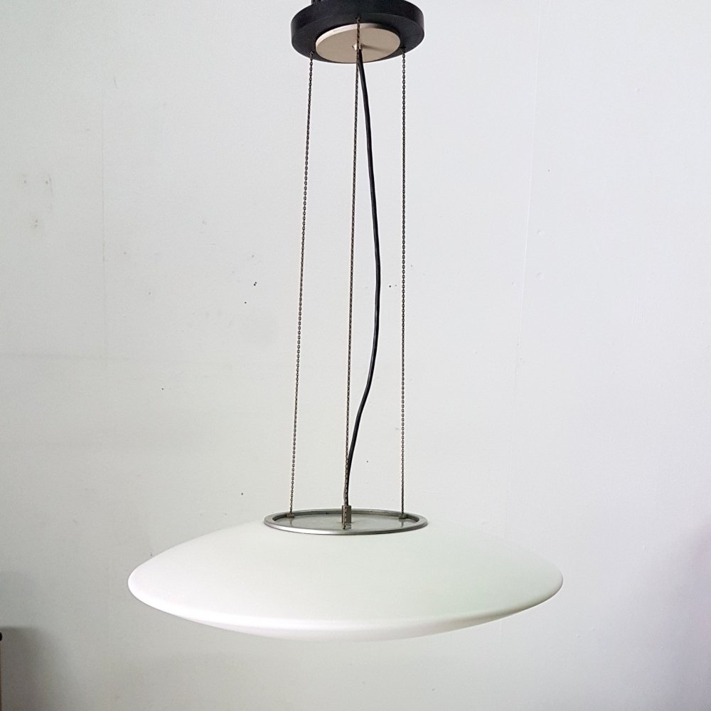 Large UFO glass pendant lamp on chains, 1960s