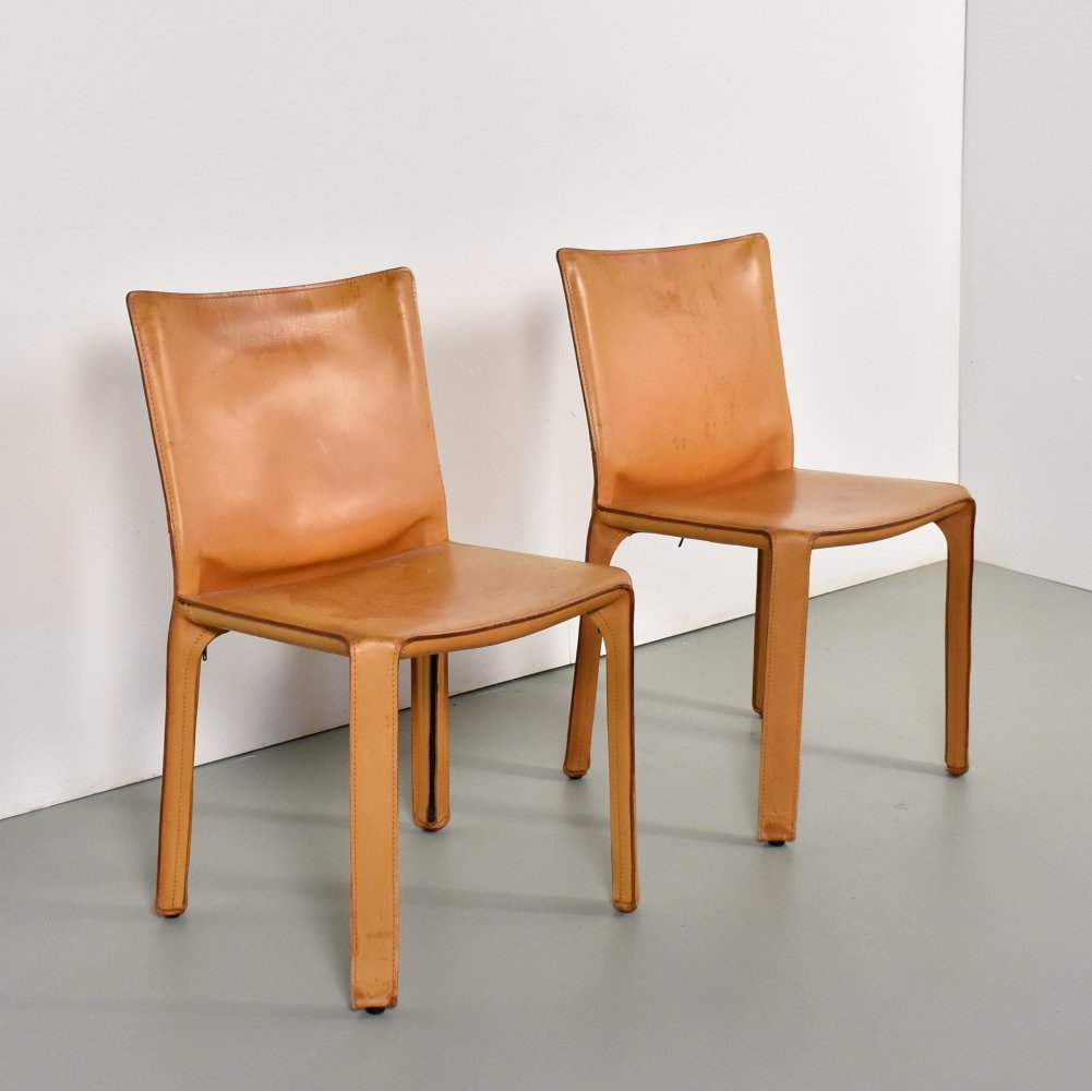 Set of 2 cognac leather 412 Cab chairs by Mario Bellini for Cassina, 1990s