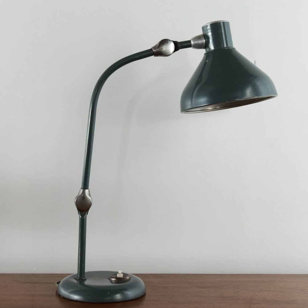Desk lamp in grey metal produced by Aluminor France, distributed by C.N.M.B