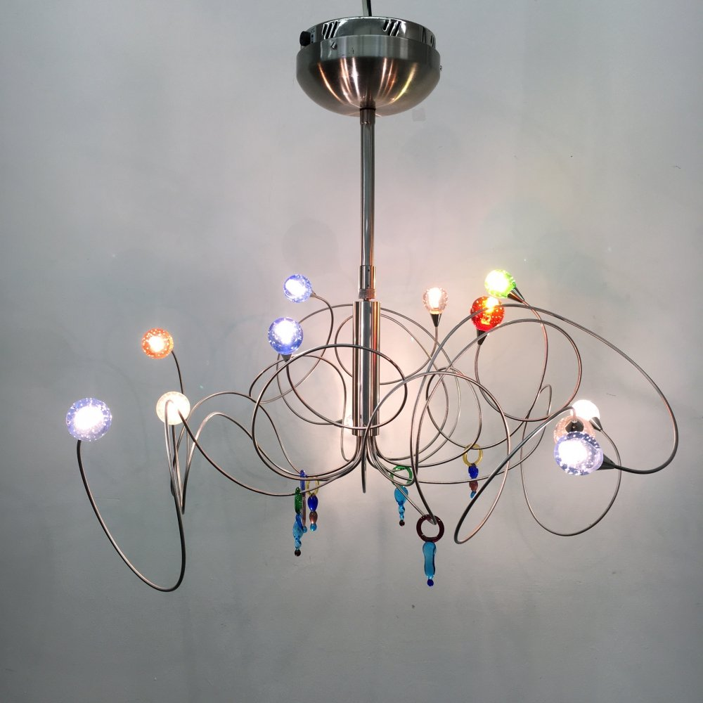 Post modern chandelier with murano glass details, 1980