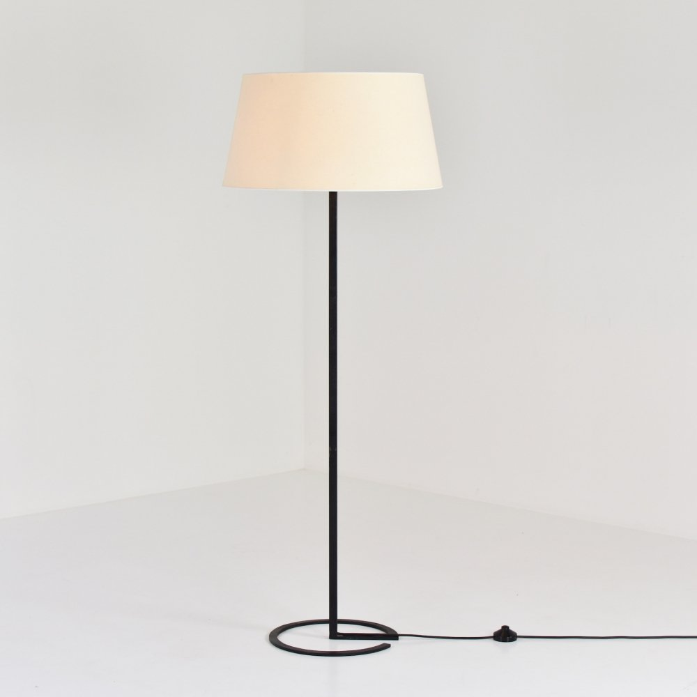 Black lacquered metal floor lamp, 1950