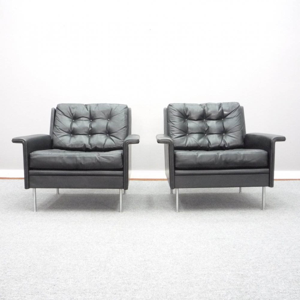 Pair of Leather Lounge Chairs from Behr, 1960s