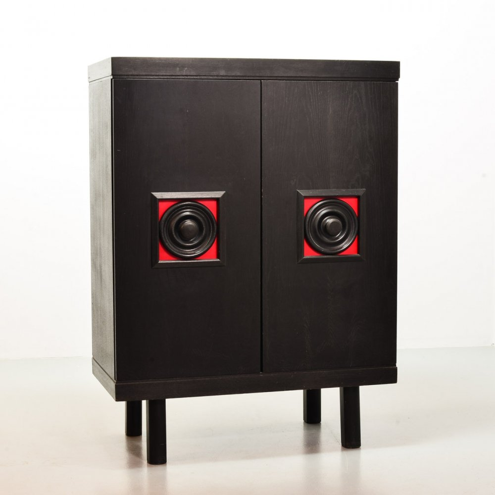Brutalist Black Highboard with Red Accents in Japanese Style, Belgium 1960s