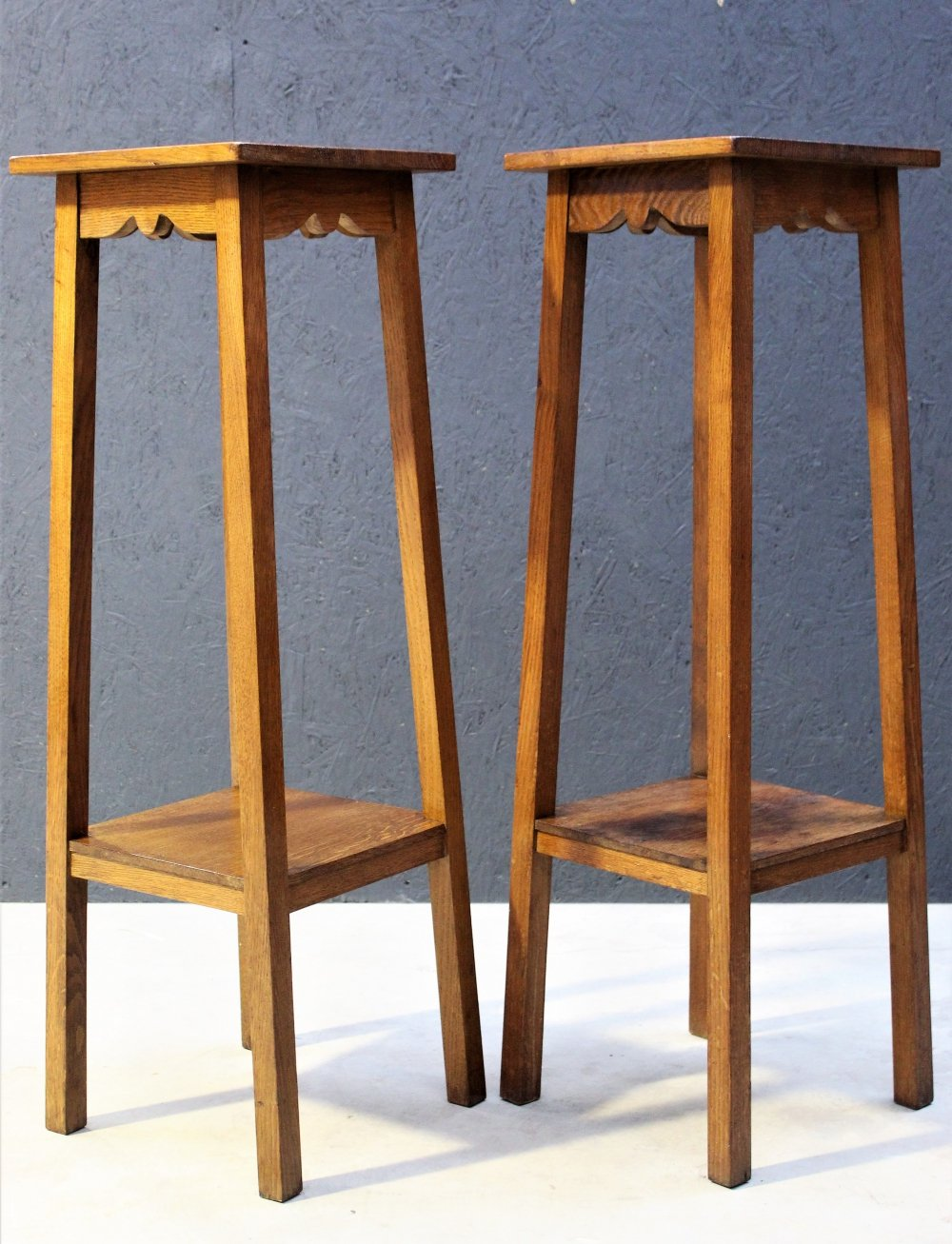 Pair of Vintage plant stands in oak, 1950s