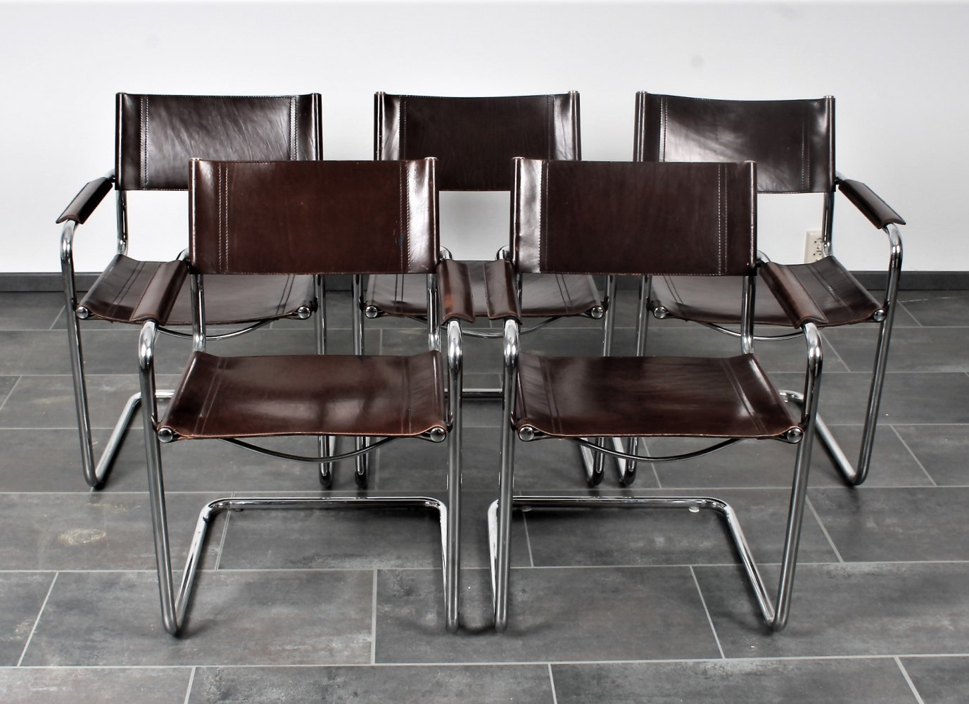 Set of 5 thick brown saddle leather MG5 chairs by Marcel Breuer / Mart Stam for Matteo Grassi, 1980s