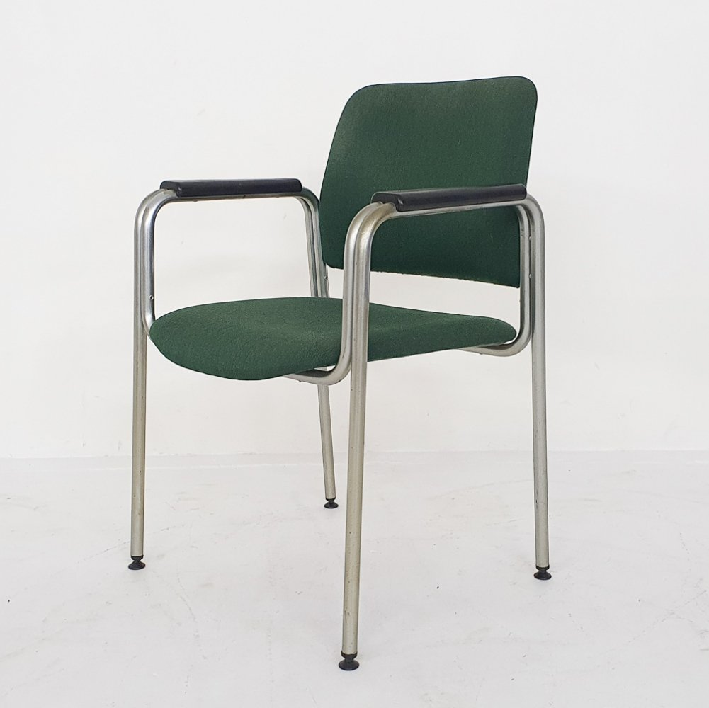 Tubular arm chair in green fabric by Kho Liang Ie for CAR Katwijk, The Netherlands 1960