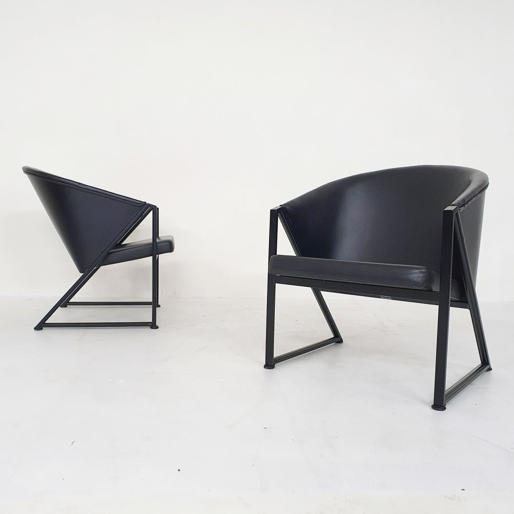 Black metal & leather lounge chairs by Jouko Jarvisalo for Inno, Finland 1980s