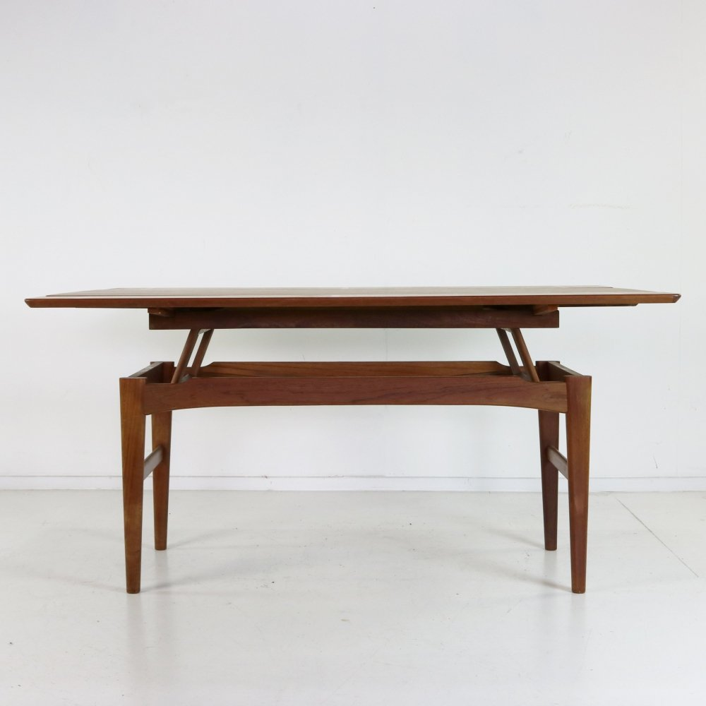 Adjustable elevator coffee / dining table by Niels Bach for Randers Denmark