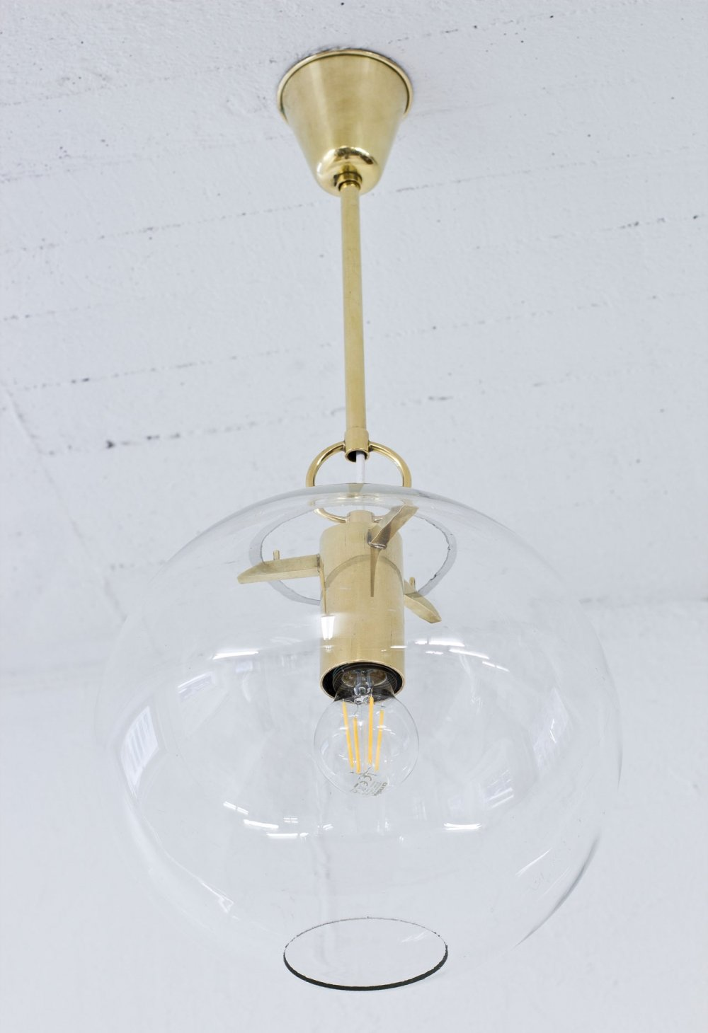 Glass & Brass Hanging Lamp by Hans-Agne Jakobsson, Sweden 1950s