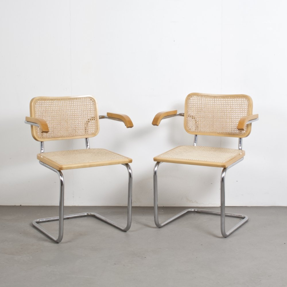Pair of Blond Office or Dining Chairs, Italy 1980s