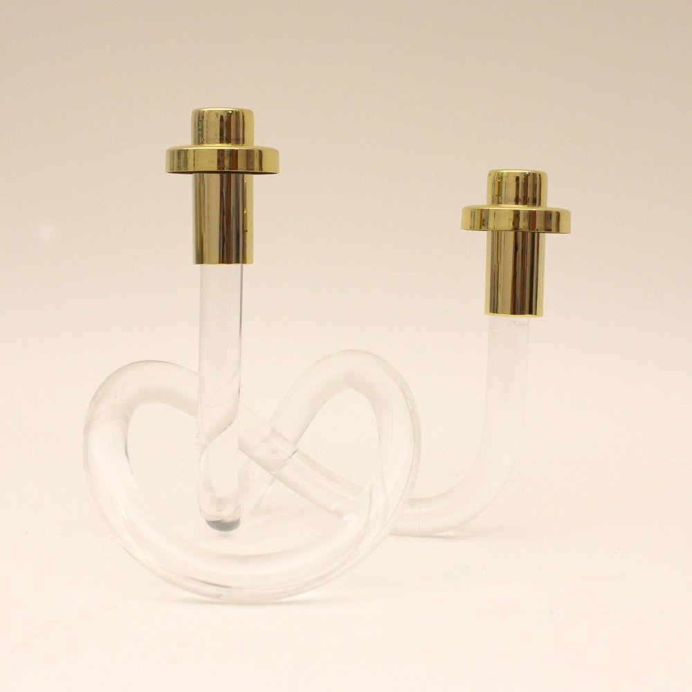 Lucite & gold plated Pretzel candlestick by Elaine Bscheider made by Dorothy Thorpe Inc, 1950s