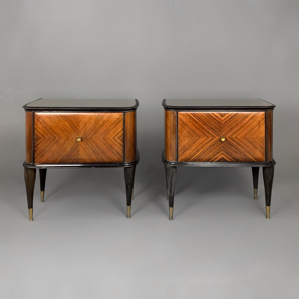 Pair of night stands in rosewood veneer, glass & brass, Italy 1950s-1960s