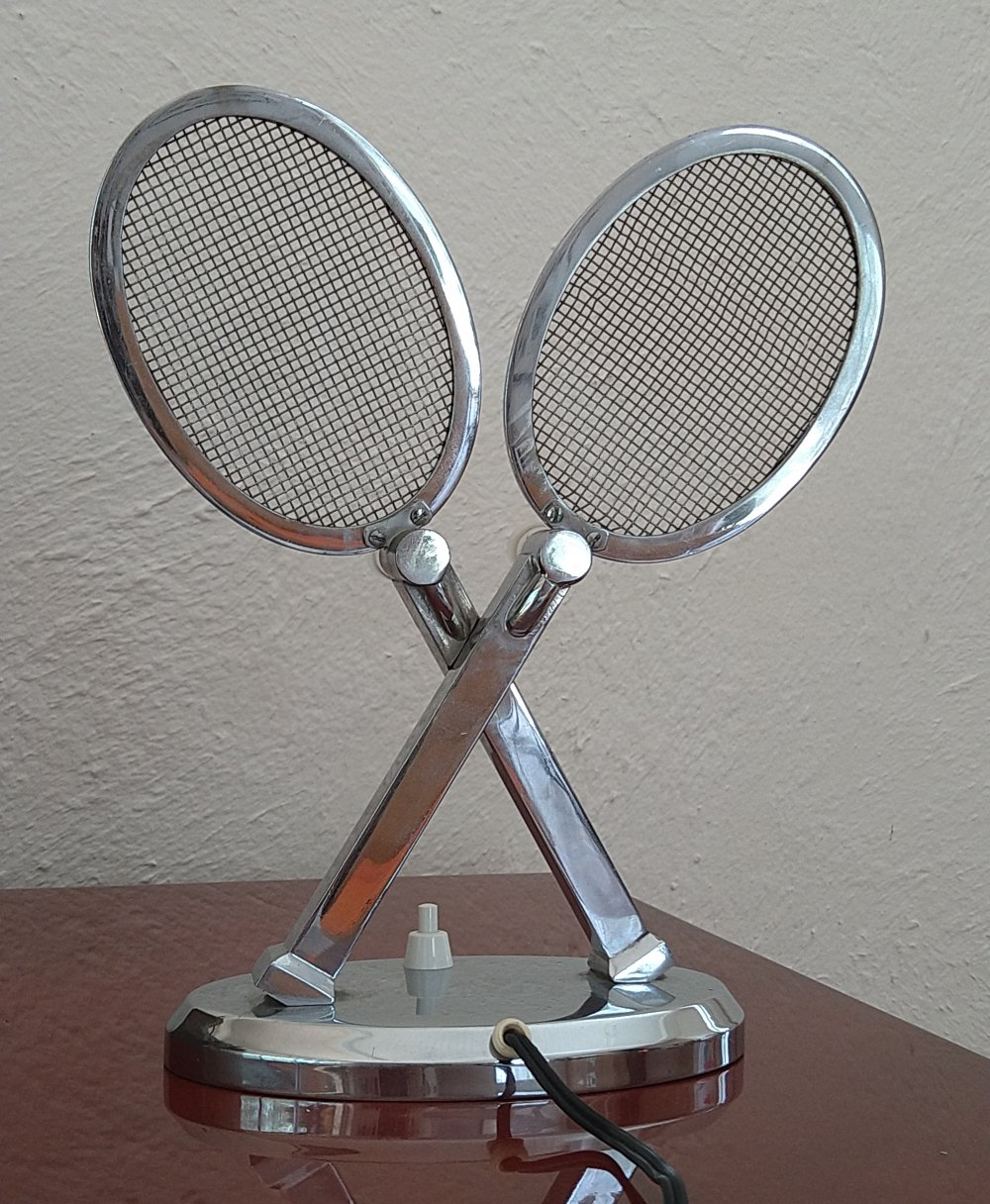 Desk lamp forming a pair of tennis racket, 1940s