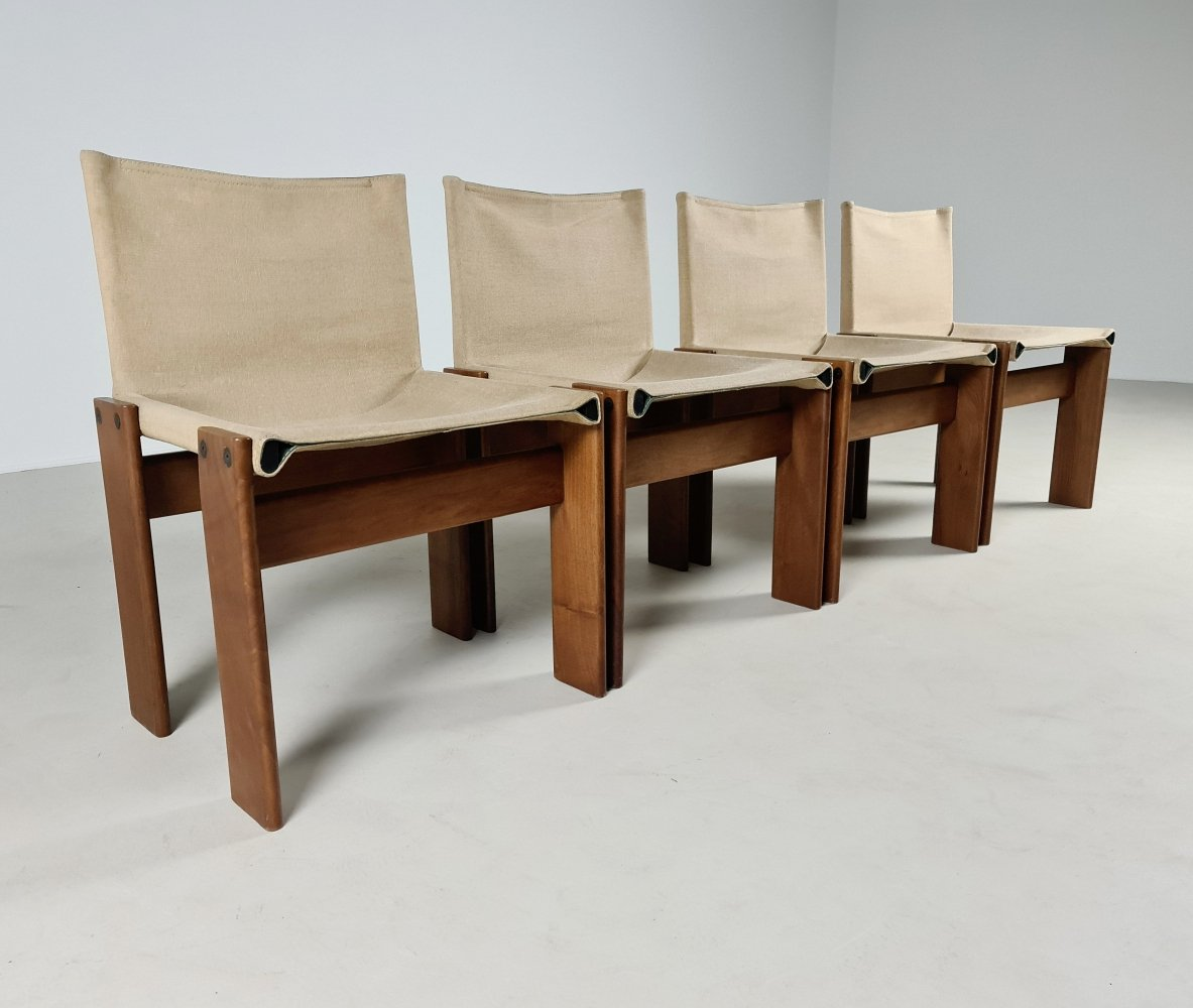 Set of 4 canvas Monk chairs by Afra & Tobia Scarpa for Molteni, 1970s