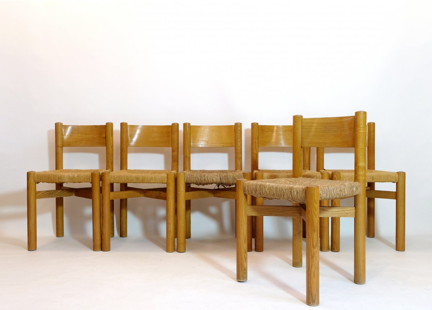 Set of 6 Meribel chairs by Charlotte Perriand, 1960s