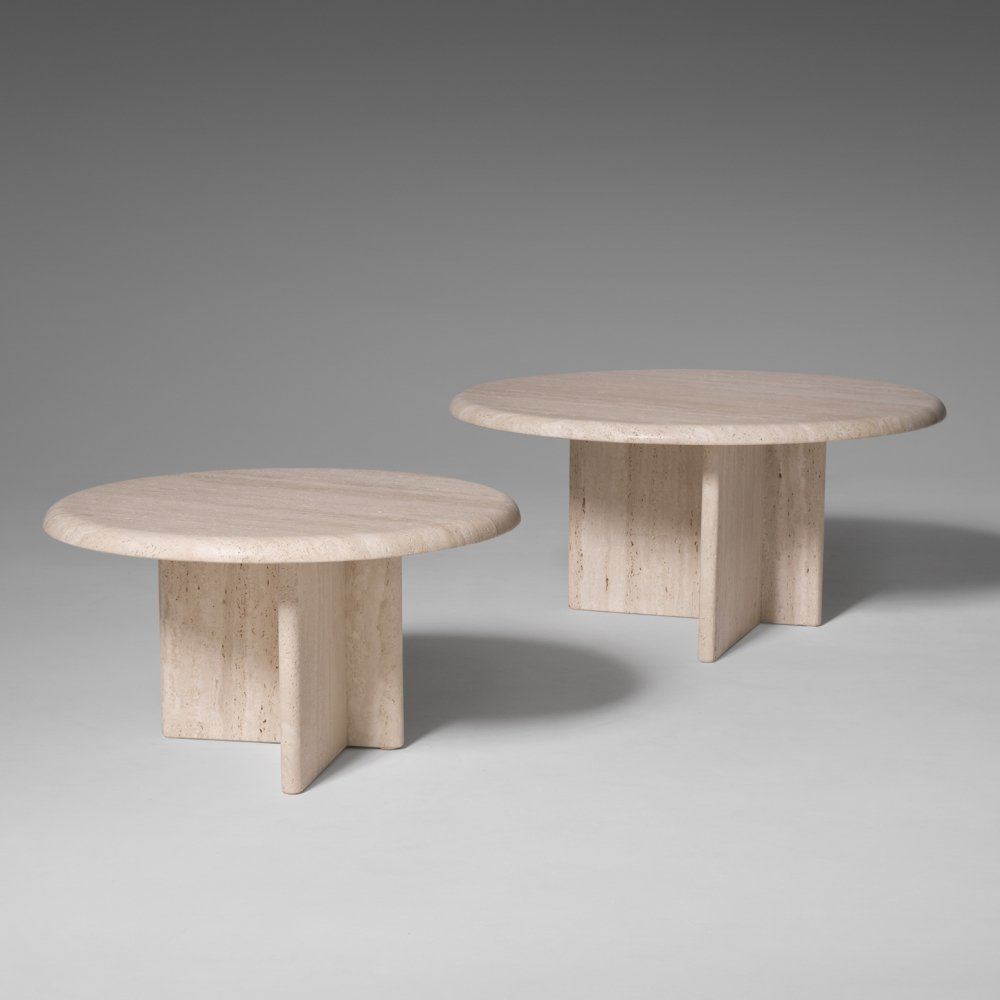 Set of two Round Travertine Side tables, 1970s