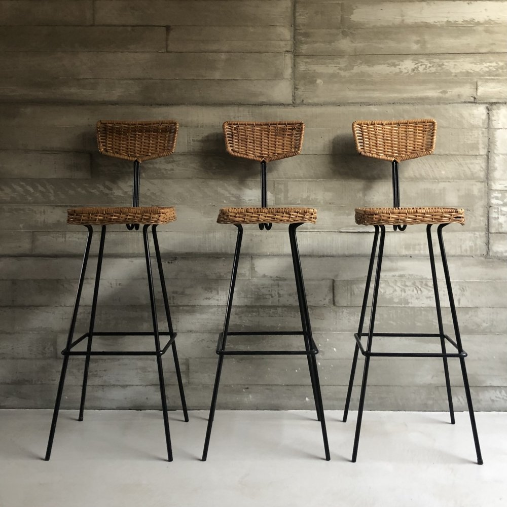 Set of 3 barstools by Herta Maria Witzemann for Erwin Behr Germany
