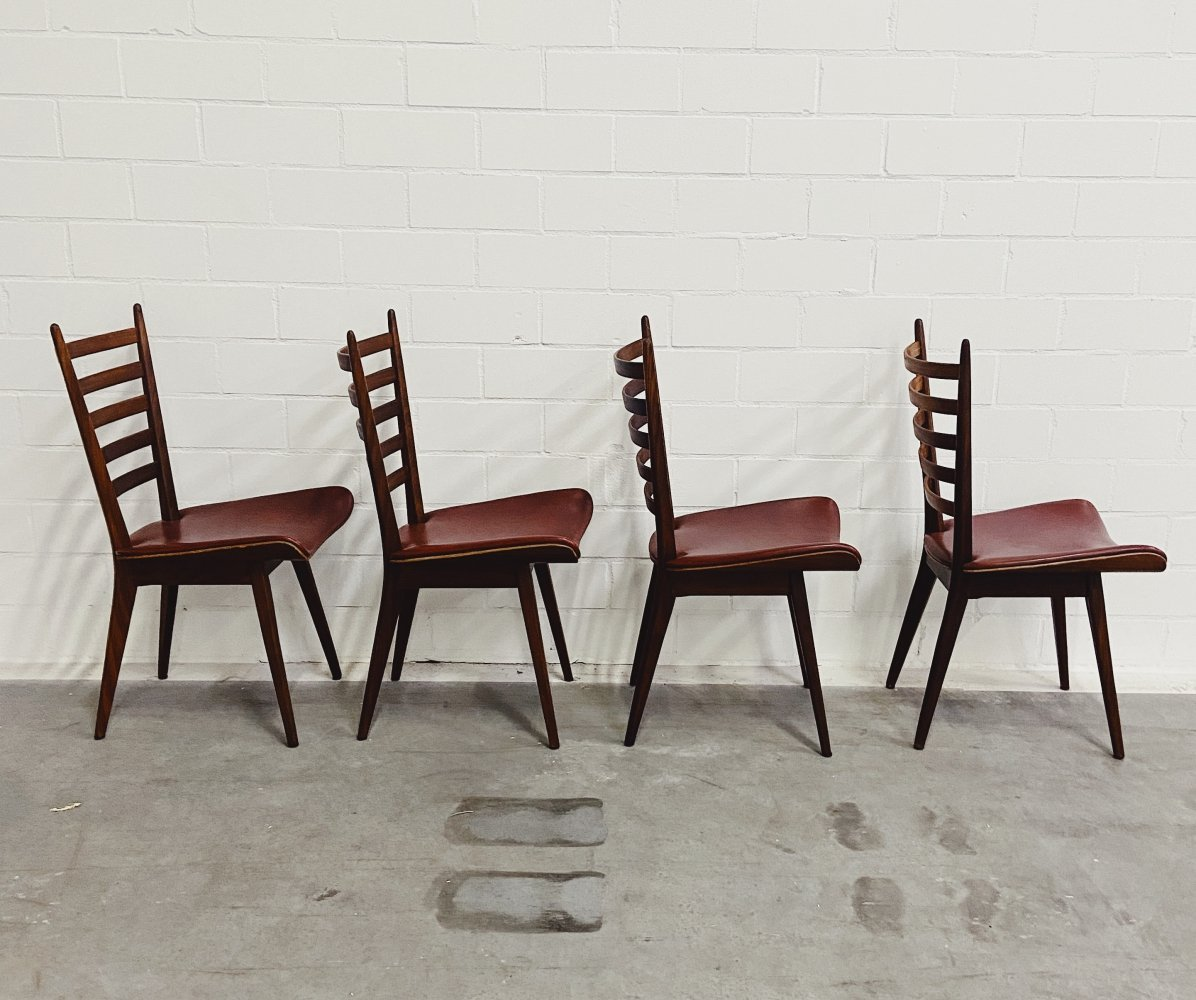Set of 4 Teak vintage Dining Chairs with Skai Leather, 1950s
